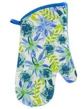 FLORAL Design KITCHEN SET 6pc Dish Towels Potholders Oven Mitt Blue Flower Enjoy image 3