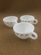 3 Pyrex Vintage coffee cups white with green flower 701-05 - $8.59