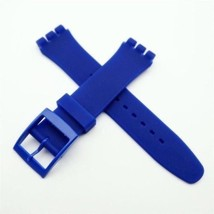 HOT! bleu blue Azul blu silicone rubber Strap fits Swatch 19mm steel cla... - $12.99