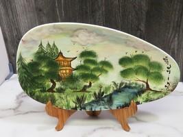 Signed Tolmina Ceramic Signed Platter Hand Painted Asian Mid Century Design - $43.56