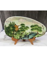Signed Tolmina Ceramic Signed Platter Hand Painted Asian Mid Century Design - $43.56