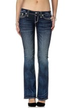 Rock Revival Women's Premium Boot Cut Dark Denim Rhinestone Jeans Ena B19