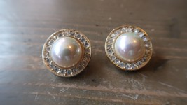 Vintage Faux Pearl, Rhinestones & Gold Tone Clip On Earrings - ROMAN - $19.30