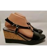 Franco Sarto Vegan Glare Black Silver Strappy Open-Toed Wedge Heels Wome... - $16.83