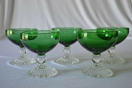 5 Anchor Hocking Forest Green Berwick Sherbet - $24.75