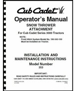 "Cub Cadet 45"" Snow Thrower Attachment Operators Manual Model No. 190-353... - $10.88"