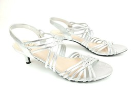 Impo Silver Metallic Emberly Sandals Kitten Heels Size 9.5 M - $39.95