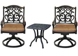 Outdoor bistro patio furniture 3 pc Flamingo swivel rocker cast aluminum bronze image 1