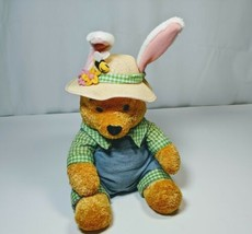 "Easter Farmer Winnie The Pooh Plush Bunny Ears Straw Hat Overalls Disney 10""  - $9.86"