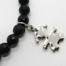 925 STERLING SILVER BRACELET WITH FACETED BLACK ONYX BALL & BABY GIRL PENDANT image 2