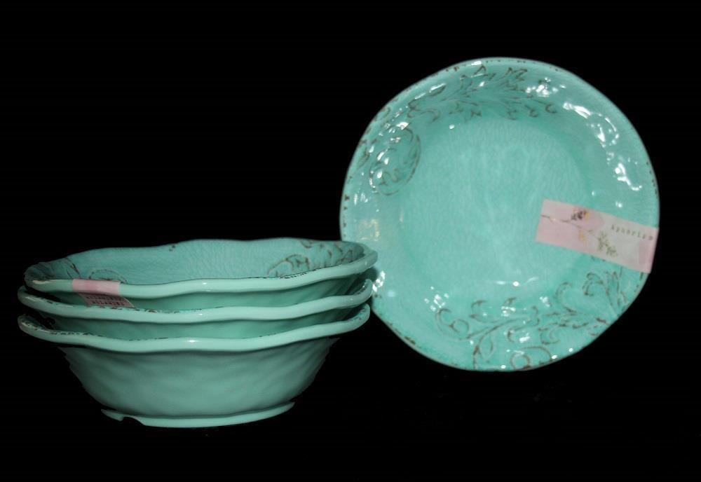 4 APHORISM Turquoise Crackle Embossed Scroll Deep Melamine Cereal Bowls NWT