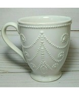 Lenox French Perle White Beaded Mug, Footed Coffee Cup 4.25 In 12 oz - $14.80