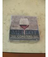 NWT BOX THIRSTYSTONE MERLOT WINE GLASS  4 PIECE SET CERAMIC BEVERAGE COA... - $27.71