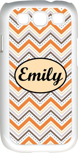 Primary image for Monogrammed Multi Orange Chevron Design Samsung Galaxy S3 Case Cover