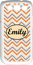 Monogrammed Multi Orange Chevron Design Samsung Galaxy S3 Case Cover - $15.95