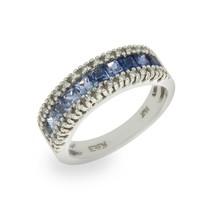 EFFY 14K White Gold Diamond & Rainbow Blue Sapphires Band Ring Size 6.75... - £600.66 GBP