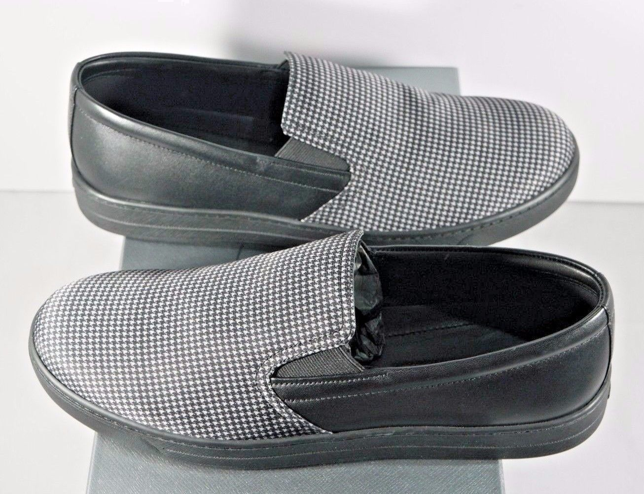NIB Prada Black Houndstooth Nylon Leather Slip-On Sneaker Loafer Shoes 9