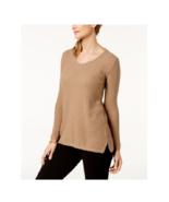 Karen Scott Women's Chestnut Heather Cotton V-Neck Textured Sweater Size... - $16.82