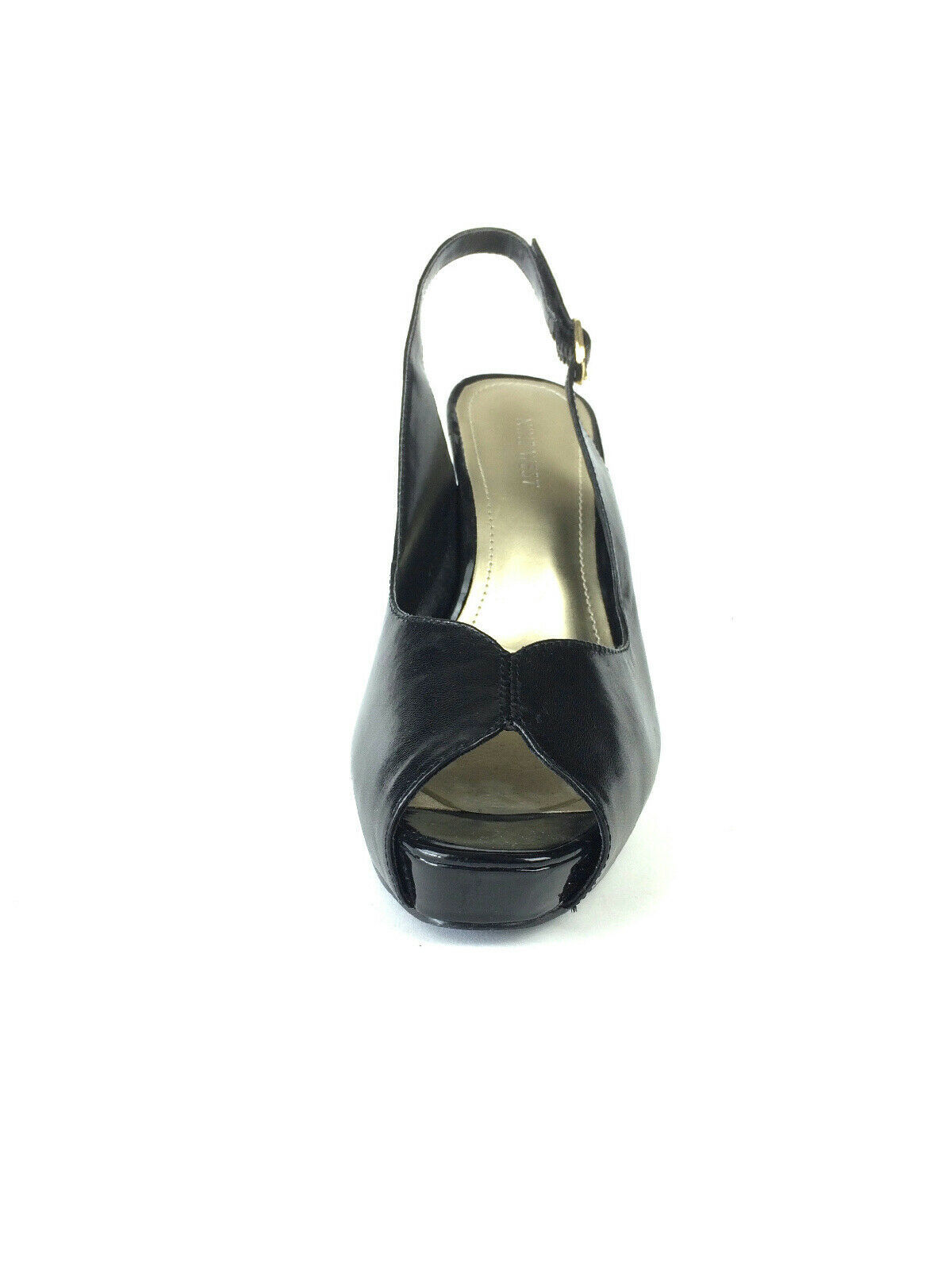 Sz 8 Nine West Black Leather Open Toe Slingback Heels w/Patent Leather Heel