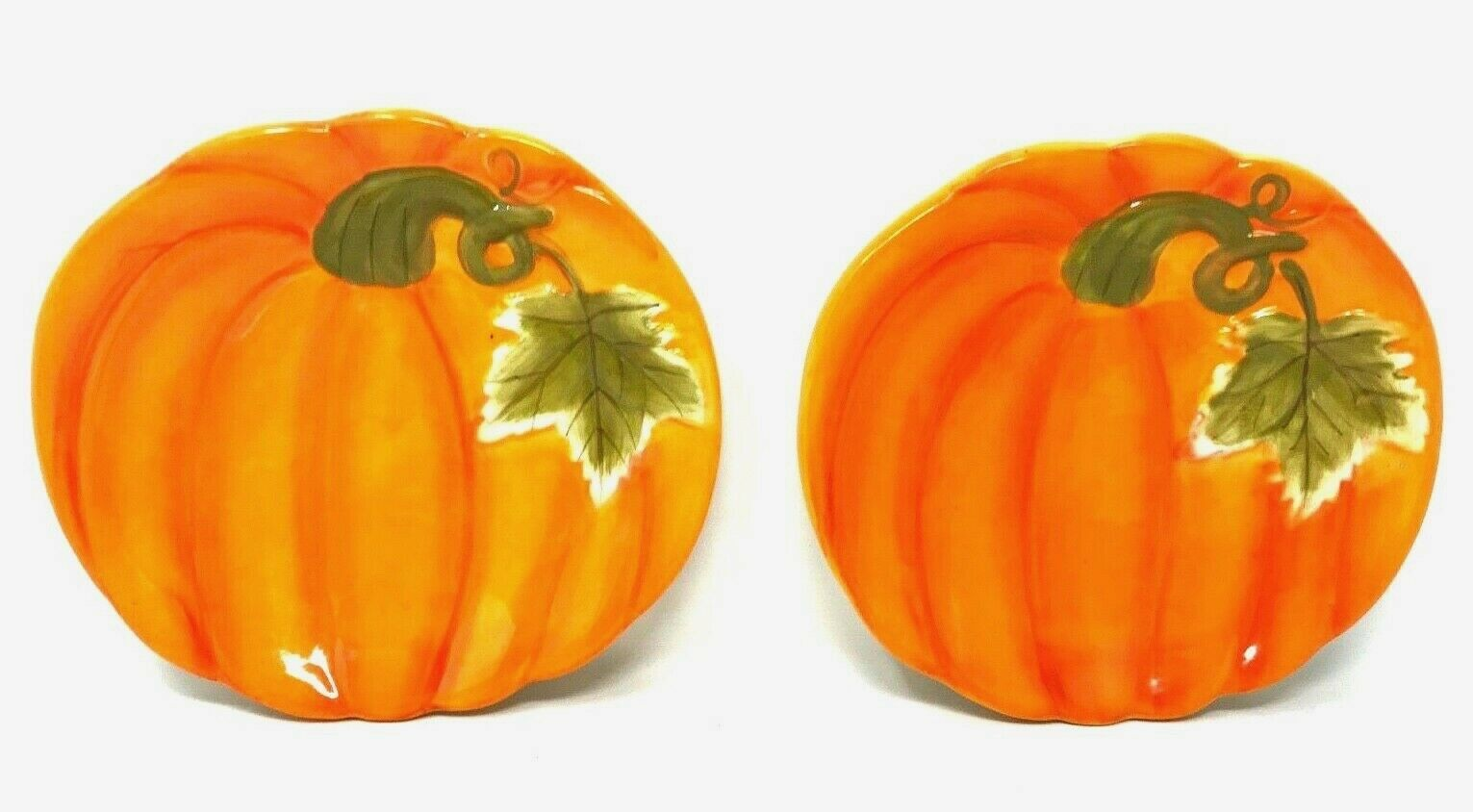 "Primary image for 2 Figural PUMPKIN Appetizer Plates AUTUMN Harvest Festival Fall 8.25"" x 7.5"""