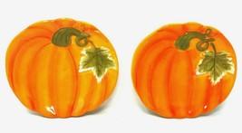 "2 Figural PUMPKIN Appetizer Plates AUTUMN Harvest Festival Fall 8.25"" x ... - $31.49"