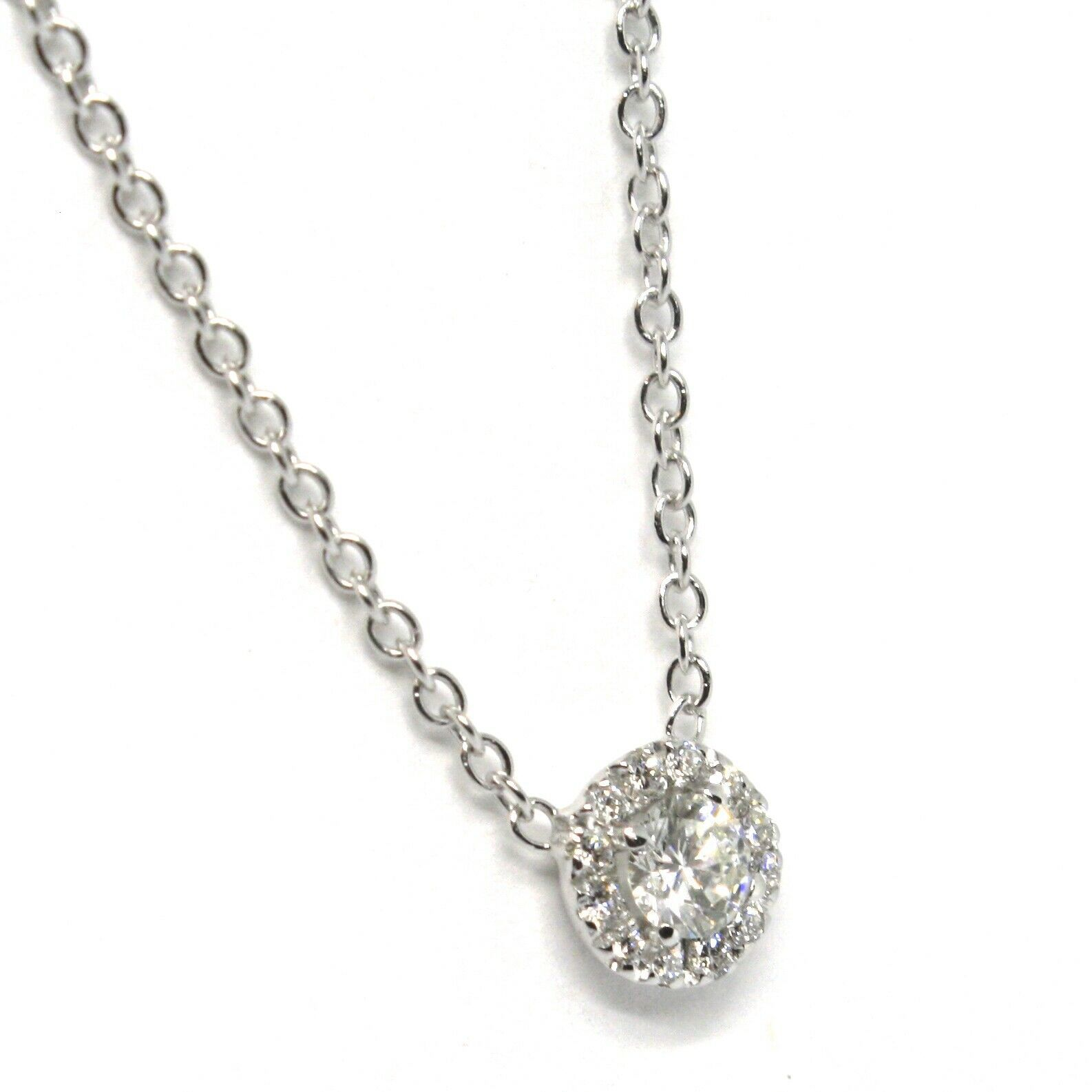 Necklace White Gold 750 18k,Central & Frame of Diamonds,0.24 CT,Flower,Rolo '