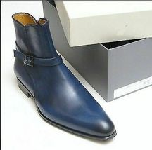 Handmade Men's Blue High Ankle Monk Strap Leather Jodhpurs Boots image 3