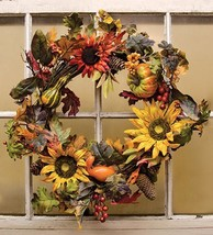 Fall HARVEST SUNFLOWER WREATH Country Thanksgiving Pinecone Pumpkin Gour... - $77.66 CAD