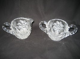 Vintage Lead Crystal Creamer and Sugar Bowl Etched Glass Starburst Motif - $18.65