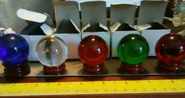 Mini Colored Glass Balls Set Of 5 - $6.00