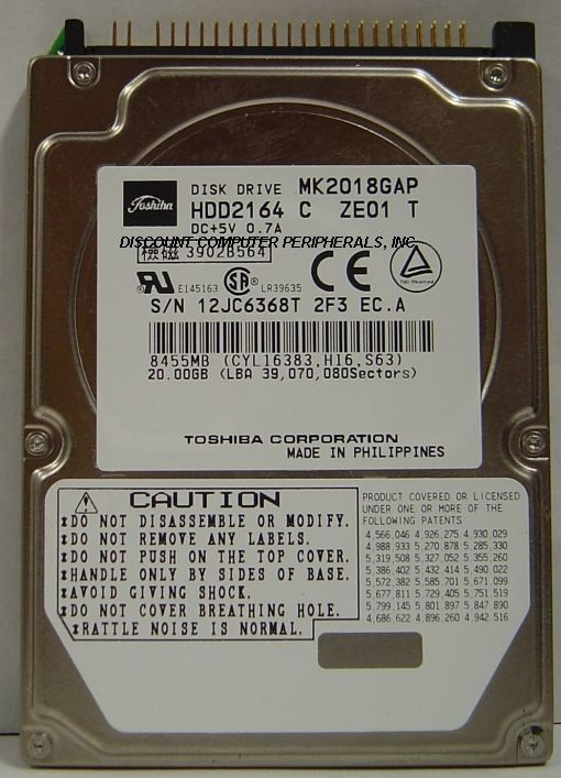 "Lot of 4 Toshiba MK2018GAP HDD2164 20GB 2.5"" IDE Drive Tested Free USA Ship"