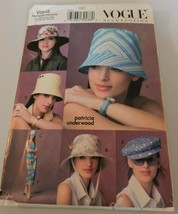 Vogue Accessories Sewing Pattern Patricia Underwood Summer Hats Cap Uncu... - $16.99