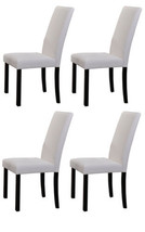 White Parson Chair With Black Finish Solid Wood Legs, Set of 4 Chairs ~New~ - $173.90