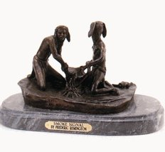Artistic Solutions Smoke Signal Statue Bronze Handmade Sculpture By Frederic Rem - $1,526.84
