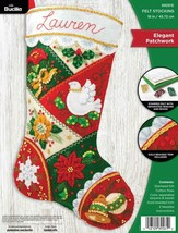 Bucilla Elegant Patchwork Poinsettia Dove Christmas Felt Stocking Kit 89... - $39.95