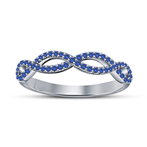 Women's Infinity Designs Rings Sterling Silver White Gold Plated Blue Sa... - $79.51