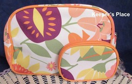 2 Clinique Orange Floral Makeup Travel Zippered Cases New - $9.99