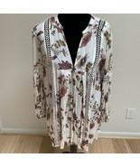 Free People Women's Tunic Dress Size S Ivory Floral Long Sleeve Crochet - $49.49