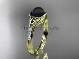 Diamond black pearl celtic knot engagement ring 14kt yellow gold CTBP7333 - $1,100.00