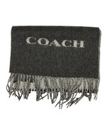 Coach Mens Bi Color Double Face Wool Scarf in Charcoal Grey - $84.14