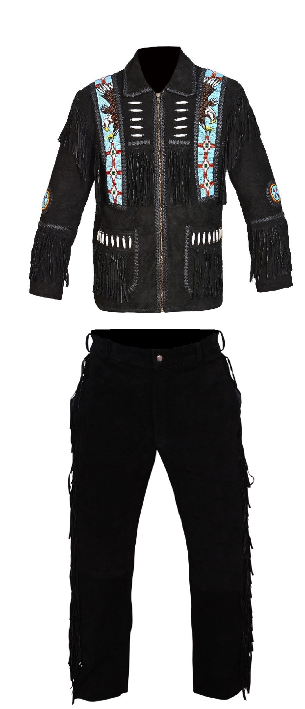 Men New Native American Buckskin Black Goat Suede Leather Bead Shirt & Pant WS69