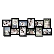 "Adeco 12-Opening 4x6"" Black Wooden Wall Hanging Collage Photo Frames - $863,28 MXN"