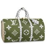 Louis Vuitton Keepall 50 Travel Shoulder Bag Giant Monogram Khaki Auth N... - $4,073.75