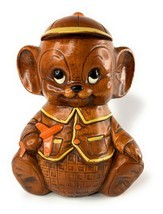 1970's Treasure Craft Little Boy Mouse Holding Airplane Cap Hat Cookie Jar - $59.39