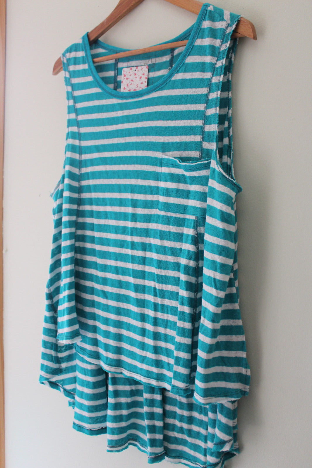 NWT Free People Designer Relaxed Linen Cotton Aqua Combo Sleeveless Top XS S $68