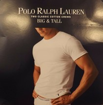 2 POLO RALPH LAUREN MENS 2XL TO 6XL COTTON WHITE BLACK CREW T-SHIRTS UND... - $38.60