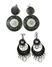 Boho Hippie Gypsy Earrings Black Silver Tone Lot of 2 Pairs Fashion Costume - $13.10