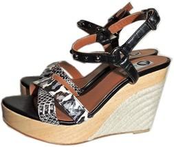 $790  Lanvin Animal Print Ankle Studded Wedge Sandal Slingback Pump Shoe... - $241.00