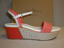 Cole Haan Size 11 M ARDEN WEDGE Orange Pop Leather Sandals New Womens Shoes - $147.51