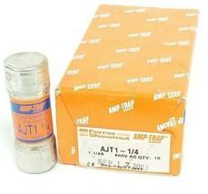 BOX OF 10 NEW FERRAZ SHAWMUT AMP-TRAP AJT1-1/4 FUSES 1-1/4A, 600V
